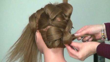 Прическа - роза вечерняя, длинных волос на Новый Год